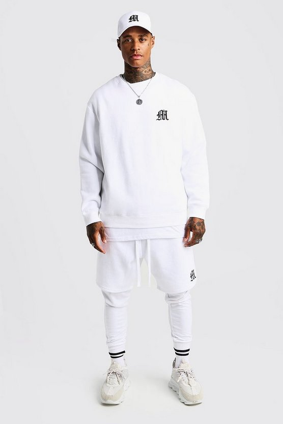 Mens White MAN Aesthetics Loose Fit Heavy Weight Sweater