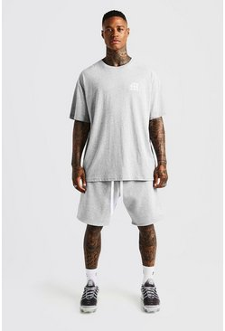 Mens Grey MAN Aesthetics Loose Fit Short