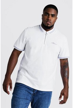 Big & Tall MAN Zip Through Polo With Tipping, White, HOMMES