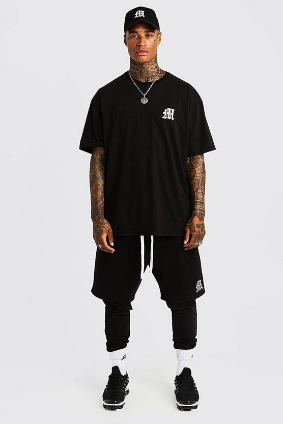 Mens Black MAN Aesthetics Oversized Drop Shoulder T-Shirt
