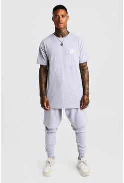 Mens Grey MAN Aesthetics Longline Drop Shoulder T-Shirt