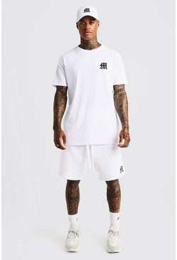 Mens White MAN Aesthetics Longline Drop Shoulder T-Shirt