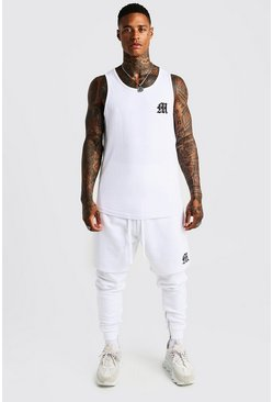 Mens White MAN Aesthetics Curve Hem Vest