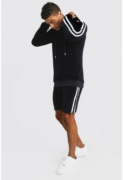 Mens Navy Velour MAN Hooded Short Tracksuit With Tape