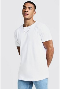 Mens White Short Sleeve Longline T-Shirt With Curve Hem