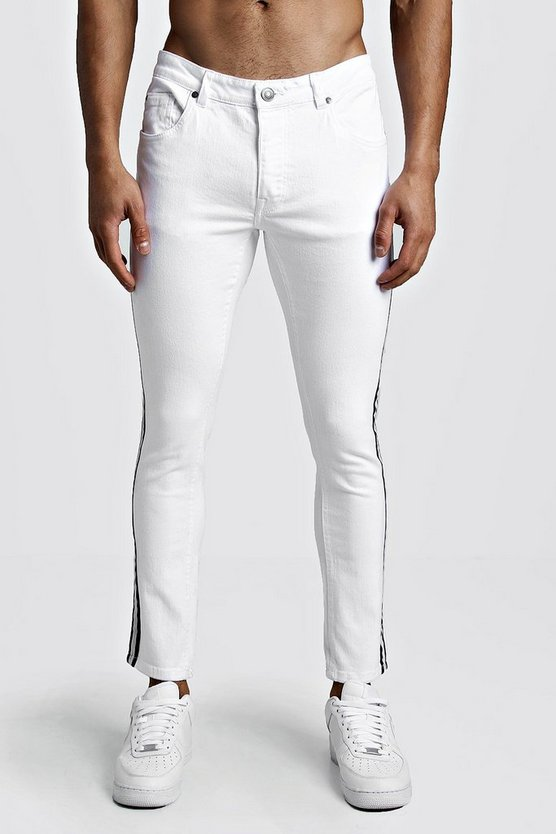 Mens White Skinny Fit Jeans With Side Tape