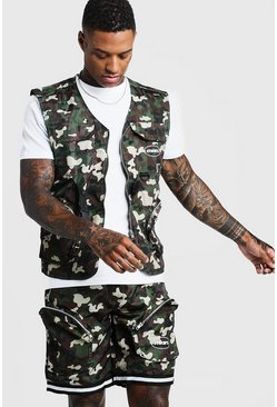 Mens Camo Utility Vest & Shorts Set