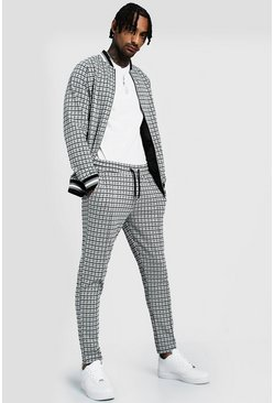 Mens Grey Houndstooth Jacquard Smart Bomber Tracksuit