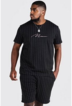 Mens Black Big & Tall MAN Signature T-Shirt & Short Set