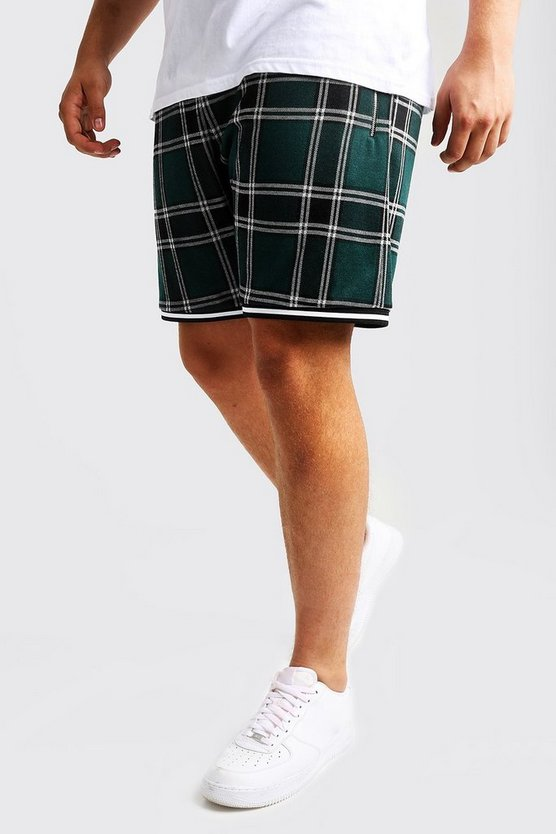 Mens Green Big & Tall Check Jacquard Shorts