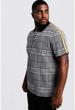 Mens Grey Big & Tall MAN Signature Check Polo