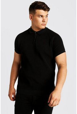 Mens Black Big And Tall Raglan Knitted Polo