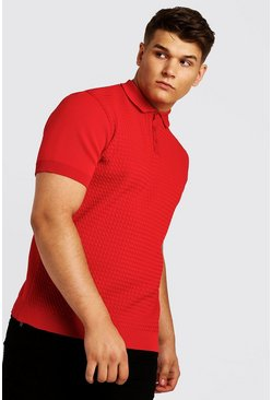 Mens Red Big And Tall Knitted Polo