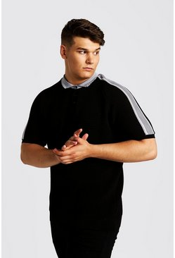 Mens Black Big And Tall Knitted Polo