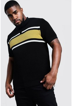 Mens Mustard Big And Tall Knitted Colour Block Polo