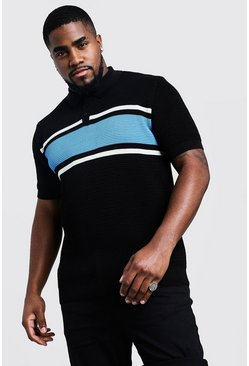 Polo en maille colorblock Big and Tall, Bleu, Homme