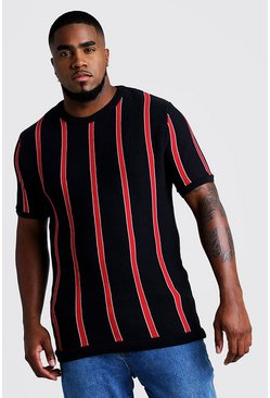 Mens Red Big & Tall Short Sleeve Striped Knitted T-Shirt