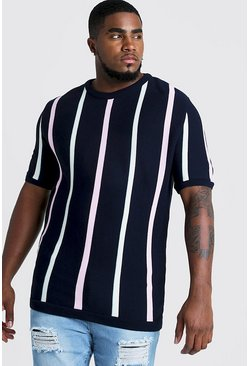 Mens Navy Big & Tall Short Sleeve Striped Knitted T-Shirt