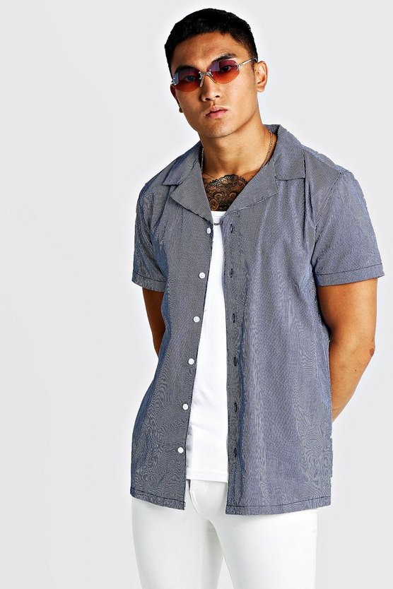 Navy Vertical Pinstripe Short Sleeve Revere Shirt