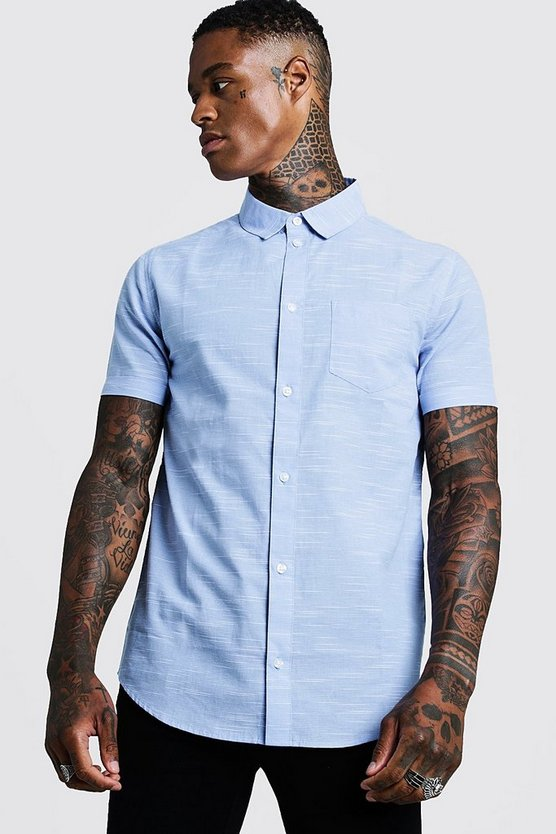 Mens Blue Vertical Pinstripe Short Sleeve Shirt