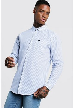 Mens Blue Cotton Slim Stripe Long Sleeve Shirt