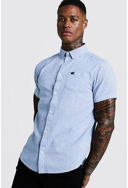 Mens Blue Two Tone Cotton Short Sleeve Shirt