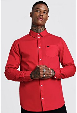 Mens Red Cotton Twill Long Sleeve Shirt