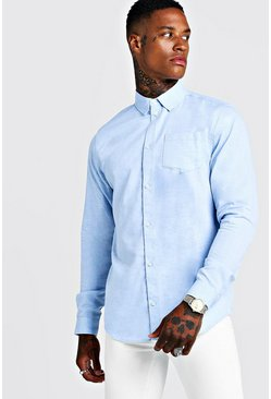 Mens Blue Cotton Mini Herringbone Long Sleeve Shirt