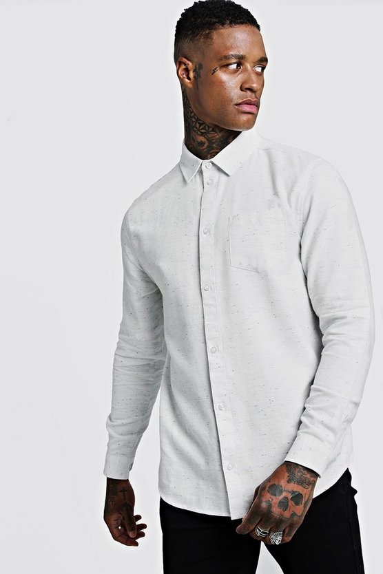 Mens White Cotton Slub Long Sleeve Shirt