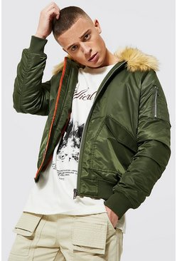 Khaki Padded MA1 Bomber With Faux Fur Collar