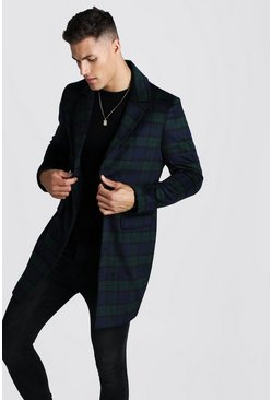 Mens Navy Brushed Wool Look Overcoat