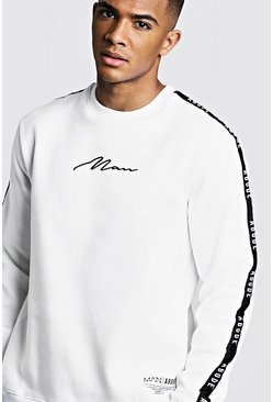 Mens White MAN X Abode Sweater With Tape Detail