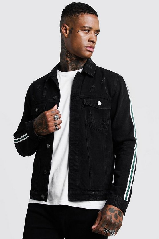 Mens Black Tape Detail Distressed Denim Jacket