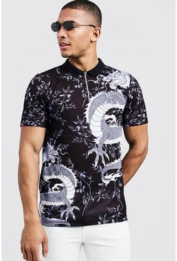 Mens Black Short Sleeve Oriental Dragon Print Zip Polo