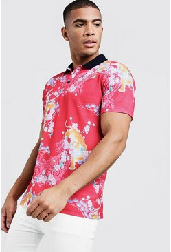 Mens Red Short Sleeve Oriental Print Polo