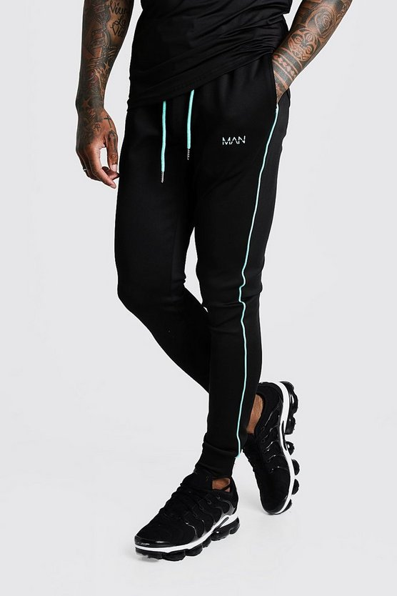 man-active-muscle-fit-aqua-tape-jogger by boohooman