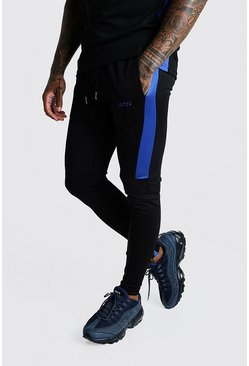Mens Cobalt MAN Active Skinny Fit Joggers With Side Panels