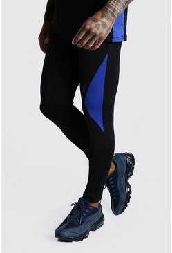 Mens Cobalt MAN Active Compression Tights With Side Panels