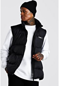 Mens Black Oversized Drop Hem Sleeveless Puffer