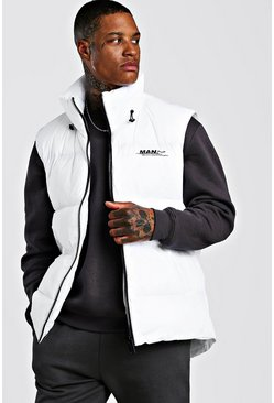 Mens White Oversized Drop Hem Sleeveless Puffer