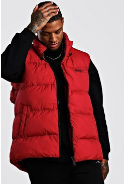 Mens Red Oversized Drop Hem Sleeveless Puffer