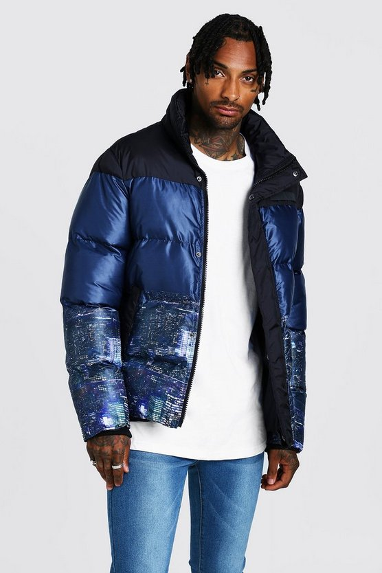 Black Night Sky Printed Puffer Coat