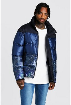 Mens Black Night Sky Printed Puffer Coat