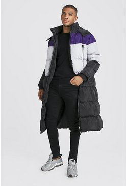 Mens Purple Longline Duvet Puffer In Colour Block