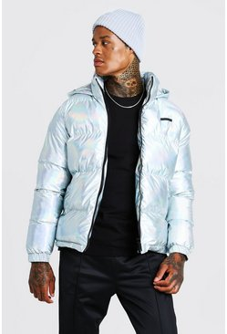 Mens Silver Metallic Puffer Jacket