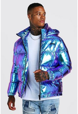 Mens Purple Metallic Puffer Jacket