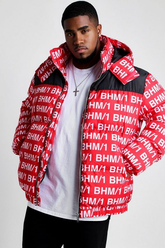 Red BHM/1 Printed Puffer Coat