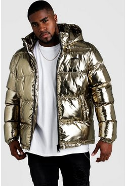Mens Gold Big & Tall Metallic Puffer Jacket