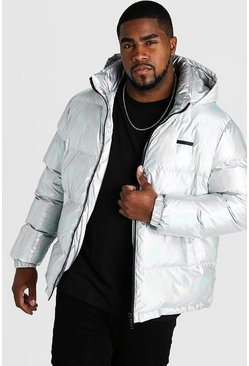 Mens Silver Big & Tall Metallic Puffer Jacket