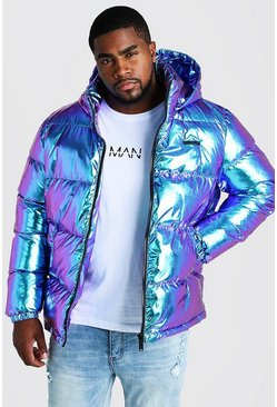 Mens Purple Big & Tall Metallic Puffer Jacket
